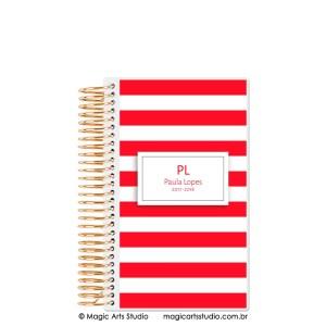 Magic Planner tamanho personal com espiral dourado - Listras vermelho
