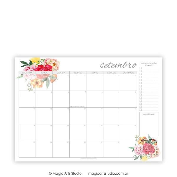 Planner de mesa A4 Floral - Setembro 2017