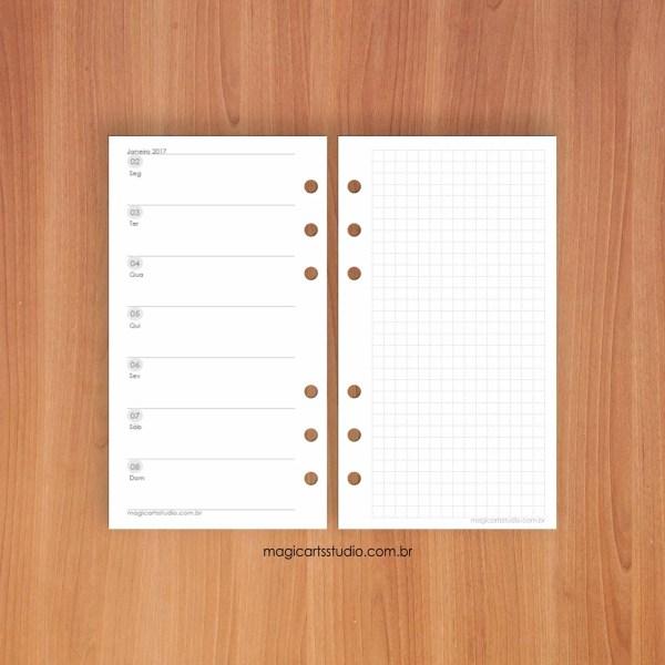 Insert semanal horizontal com página quadriculada - personal