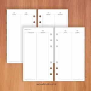 Insert semanal vertical em quatro páginas tamanho personal