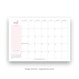 planner de mesa outubro de 2020 rosa