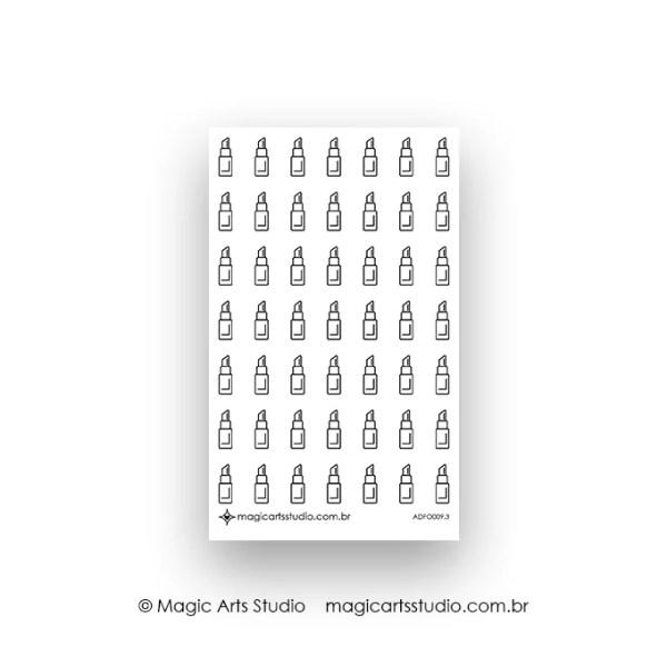 Cartela de adesivos funcionais batom