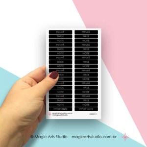 Cartela de adesivos títulos - períodos: manhã, tarde, noite - preto
