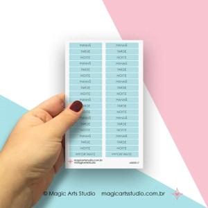 Cartela de adesivos títulos - períodos: manhã, tarde, noite - turquesa