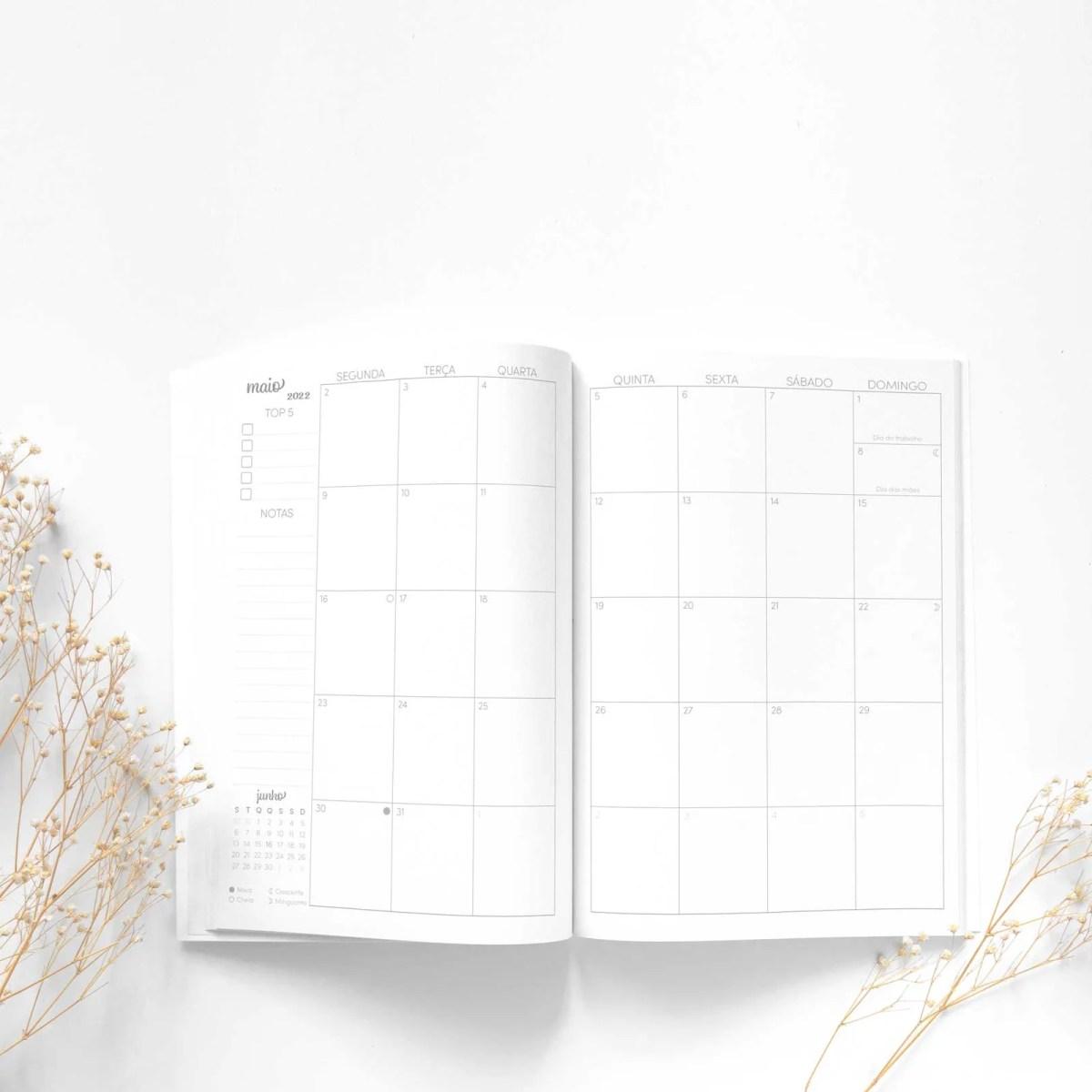 Planner brochura visão mensal em duas páginas 2022 tons de cinza