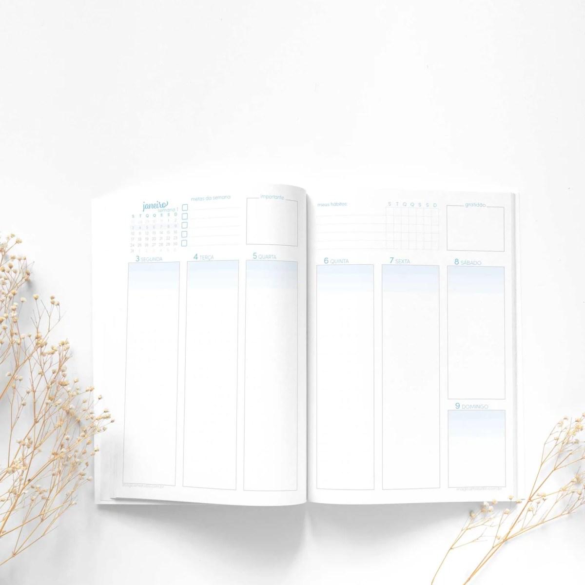 Planner brochura visão semanal em duas páginas vertical colorido