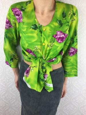 Vintage fluo green floral shirt