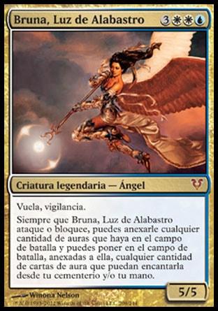 Vuela, vigilancia.  Siempre que Bruna, Luz de Alabastro ataque o bloquee, puedes anexarle cualquier cantidad de auras que haya en el campo de batalla y puedes poner en el campo de batalla, anexadas a ella, cualquier cantidad de cartas de aura que puedan encantarla desde tu cementerio y/o tu mano.