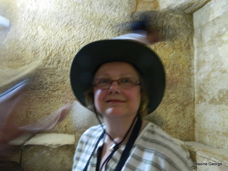 Marion George in burial chamber of Khufu's mother.