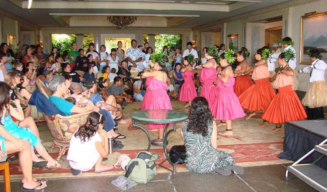 Children dancing the hula in lobby of Ritz Carlton, Kapalua, Maui, Hawaii