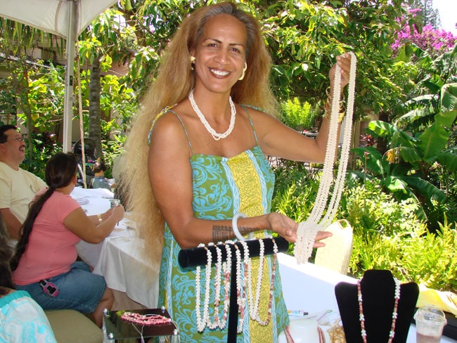 Artisan displays her shell leis at Maui's Celebration of the Arts