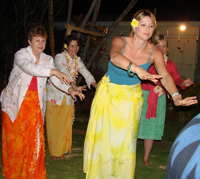 Ursula and companions take hula lessons at Auntie Adi's Maui, Hawaii