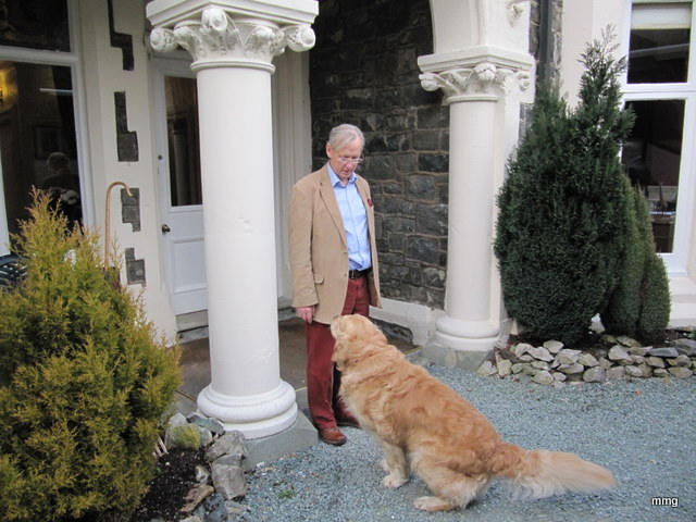 The manager, Tim Langdon and his canine friend at Dolcereau Hall, North Wales