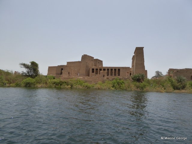 The Isis Temple of Philae appears from the water
