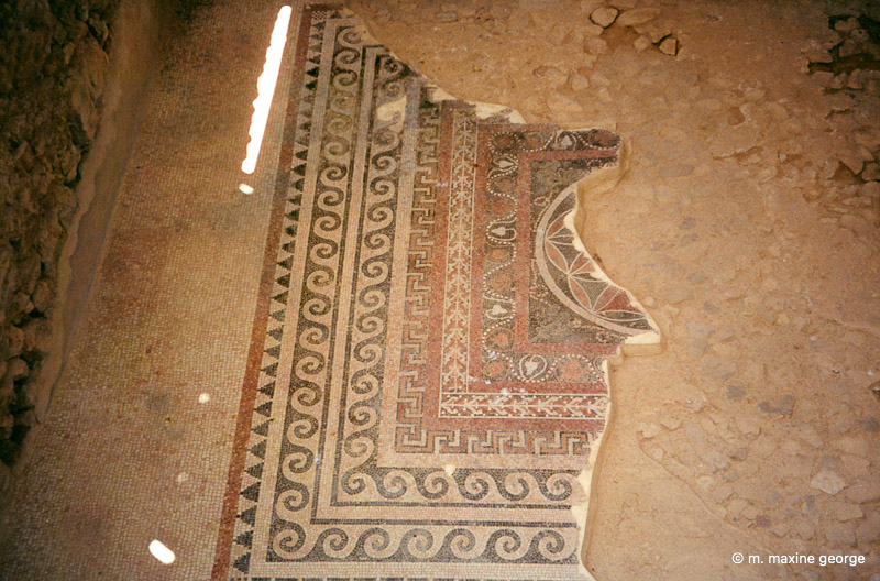A mosaic from a passageway in the Western Palace, Masada Israel