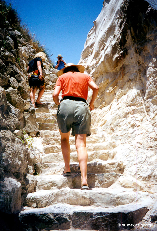 megiddo, up the walls of the city to get water