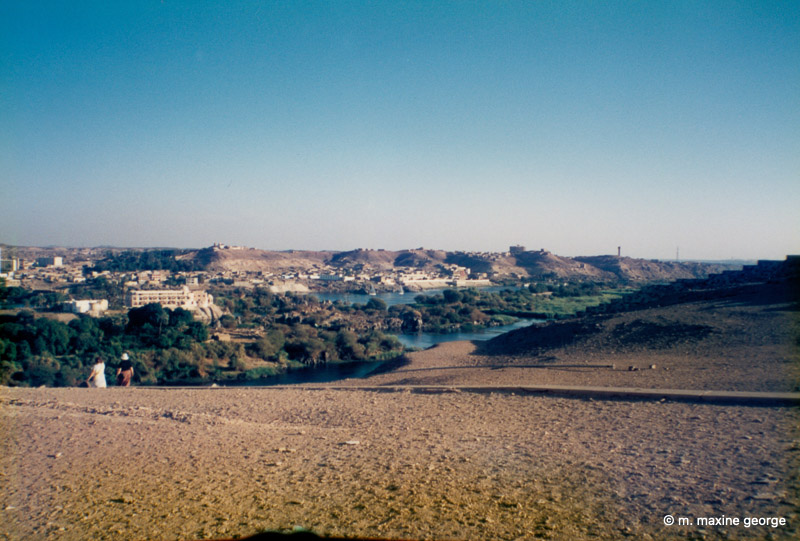 The sharp demarcation between the green Nile Valley and the desert sand