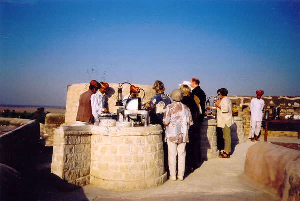 Breakfast on Ramparts of Khamisar Fort, India