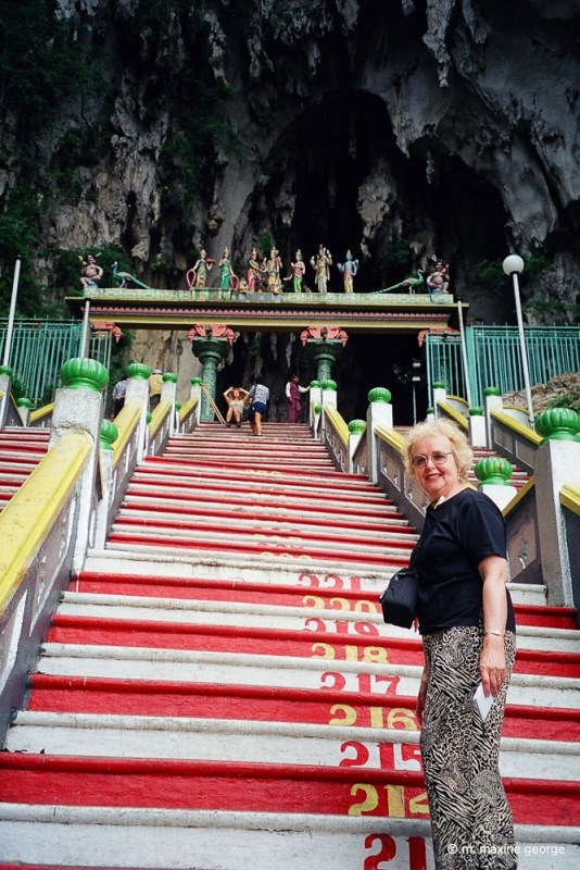 Maxine George climbs to the Batu Caves in Malaysia