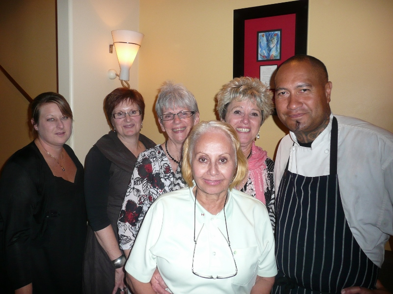 Chef Jeremy Rameka poses with Rebecca Rameka, Kelly Carter, Alda Anderson, Lenora Hayman and Robyn Vowles at the award winning restaurant Pacifica