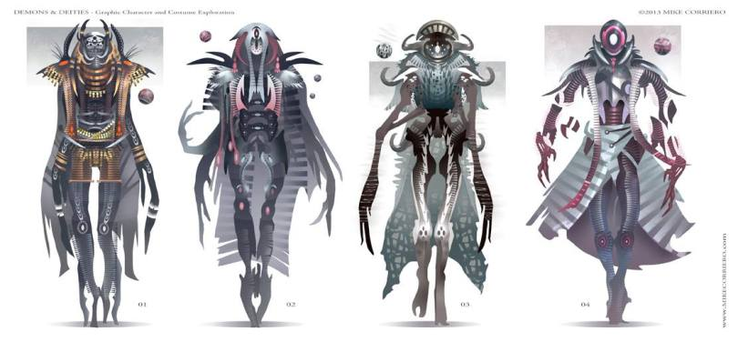 Concept art fashion characters in drawings