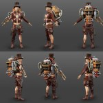 3d character with steampunk outfit with a hat