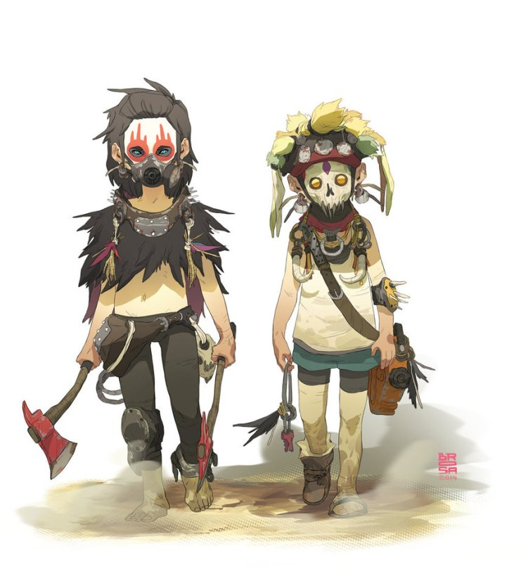 Drawing of two game characters holding an axe and wearing masks
