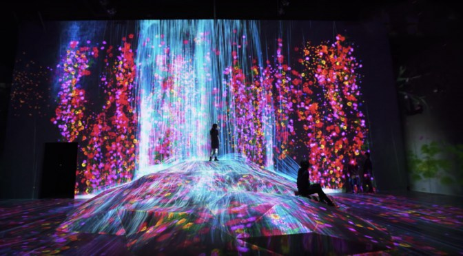 Environment with projection mapping and waterfall with people