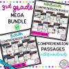 3rd grade mega reading comprehension bundle showing multiple covers with various printable and digital worksheets