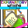 Explanatory Writing with Google Slides Distance Learning cover for 2nd and 3rd grade, showing student made book pages.