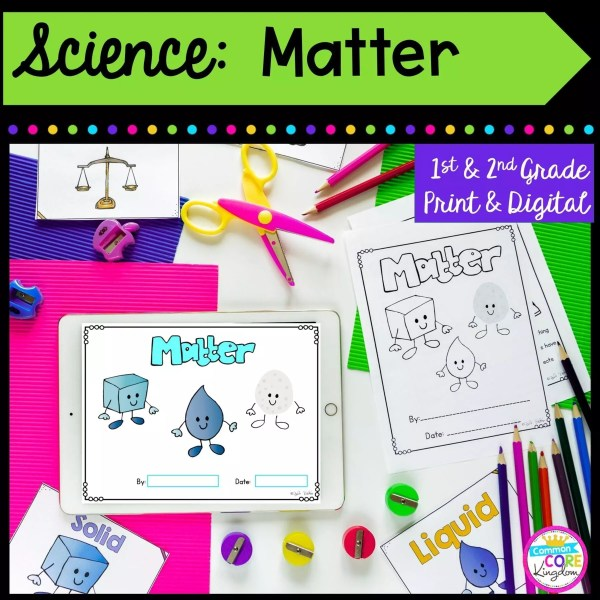 Science: Matter for 1st & 2nd Grade Cover showing printable and digital worksheets