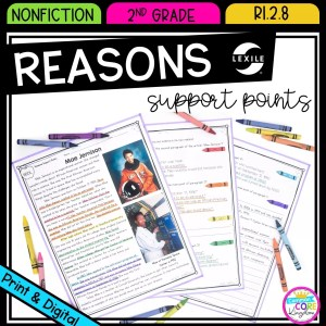Author's Point and Supporting Reasons for 2nd grade cover showing printable and digital worksheets