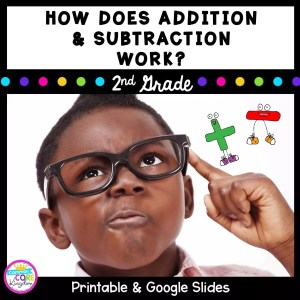 How does addition and subtraction work teaching resource cover for second grade showing boy thinking with plus and minus symbols
