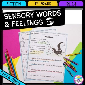 Sensory Words and Feelings for 1st grade cover showing printable and digital worksheets