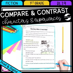 Compare & Contrast Stories for 1st grade cover showing printable and digital worksheets