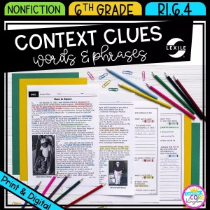 Context Clues - Figurative, Connotative, Technical Meanings for 6th grade cover showing printable and digital worksheets