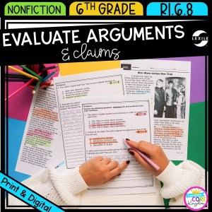 Evaluate Arguments and Claims for 6th grade cover showing printable and digital worksheets