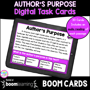 Author's Purpose boom cards task cards for 2nd and 3rd grade