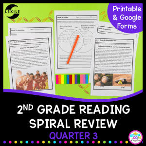 2nd grade spiral review for reading cover quarter 3