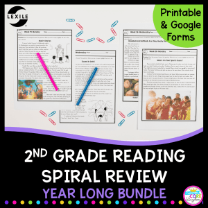 2nd grade spiral review cover showing pages from the digital and print versions of this distance learning pack