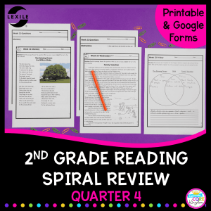 2nd grade spiral review for the 4th quarter with google distance learning