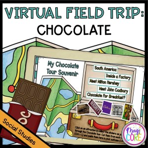 Chocolate Virtual Field Trip showing a map in the background and a suitcase for students to put their learning in.