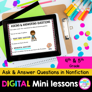 Digital mini lesson cover for ask and answer questions and inferences in nonfiction showing 4th and 5th grade digital reading worksheets