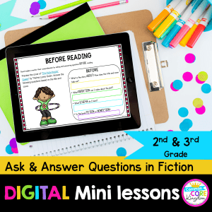 Cover for Digital Mini Lessons for 2nd and 3rd grade questions in fiction showing a tablet with a digital reading comprehension lesson