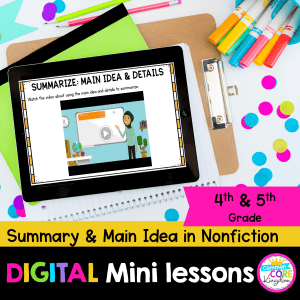Cover for main idea and details in nonfiction digital mini lesson showing a digital reading worksheet on a tablet with colored paper behind it