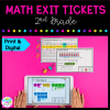 Math exit ticket for 2nd grade cover showing printable and digital worksheets