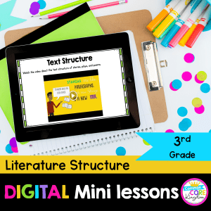 literature structure digital mini lesson cover showing google slides lessons for RL.3.5
