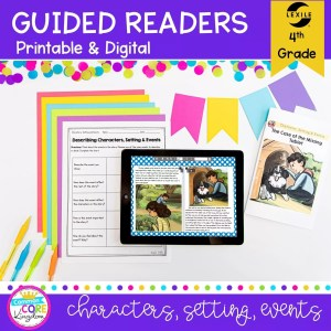 RL.4.3 Guided Reader cover for 4th grade showing digital and printable reading lesson