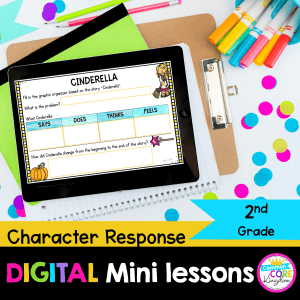 character response digital mini lesson for 2nd grade cover showing digital google slides reading resource