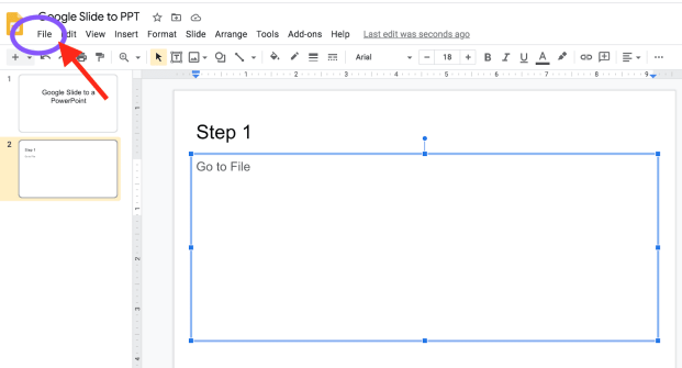 Screenshot of Google Slide being converted into Microsoft PowerPoint showing the File menu location